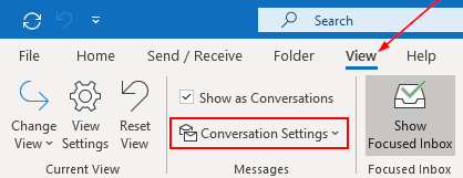 Outlook 2016 Conversation Settings Button in View Ribbon