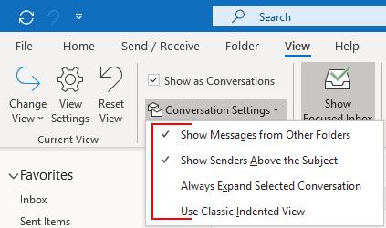Outlook 2016 Conversation Settings Dropdown Options
