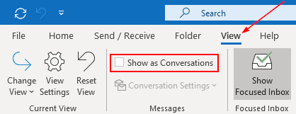 Outlook 2016 Show as Conversations in View Ribbon