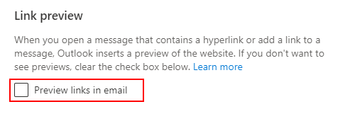Outlook 365 Web Link Preview Checkbox in Settings