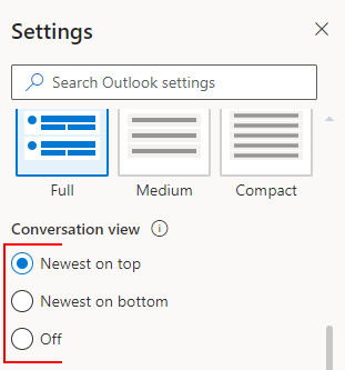 Outlook for the Web Enable or Disable Radio Buttons Under Conversation View