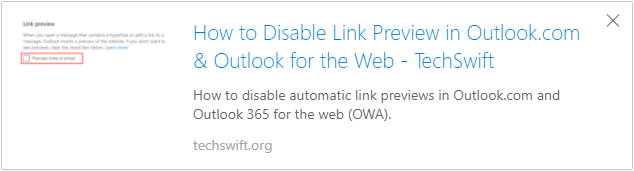 Outlook for the Web Link Preview Example