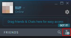 Steam Add a Friend Icon in Friends Window