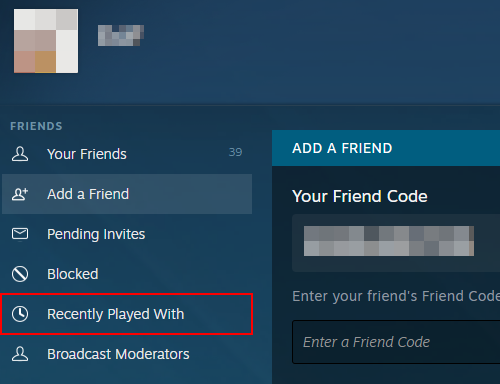Steam Recently Played With in Menu on Add Friend Page