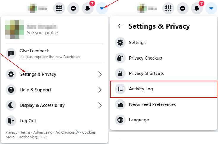 Facebook Activity Log in Settings & Privacy Menu