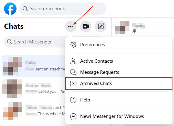 Facebook Archived Chats in Ellipsis Menu of Facebook Messenger
