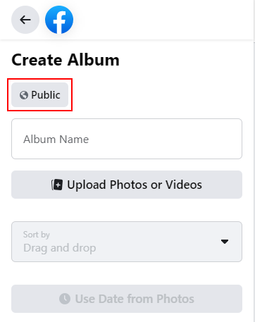 Facebook Audience Button on Create Album Page