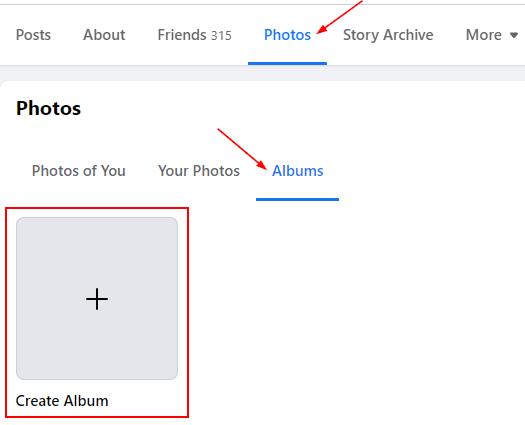 Facebook Create Album Button in Profile Pictures Album Tab