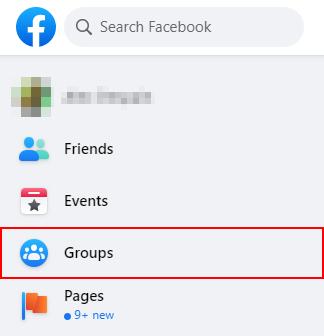 Facebook Groups Button in Left Menu