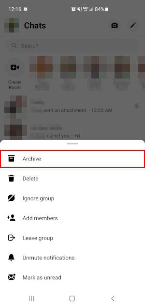 Facebook Messenger App Archive Chat Button in Longpress Menu