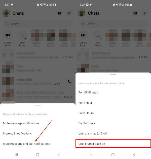 Facebook Messenger Mobile App Mute Conversation Timeframe Windows