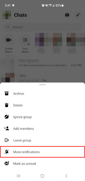 Facebook Messenger Mobile App Mute Notification in Long-press Menu