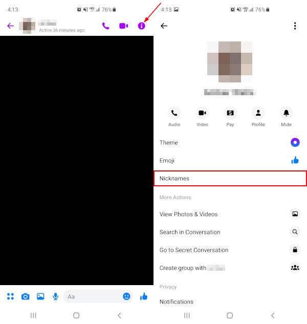 Facebook Messenger Mobile App Nicknames in Chat Information Menu
