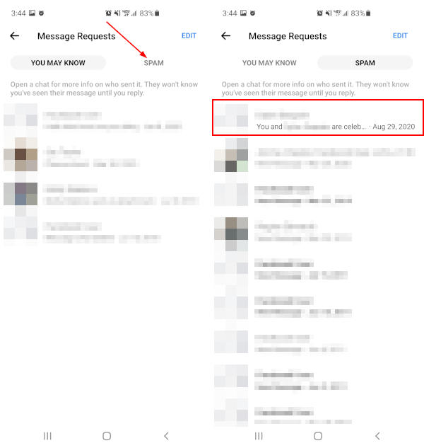 Facebook Messenger Mobile App Spam Tab and Chat in Message Requests