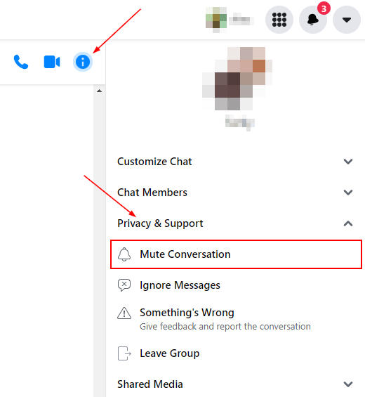 Facebook Messenger Mute Conversation under Privacy and Support in Information Menu