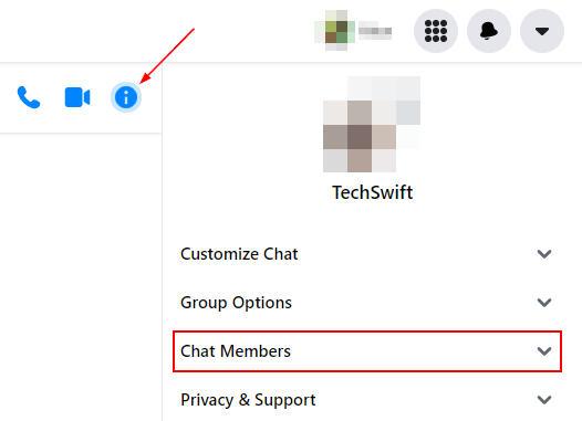 Facebook Messenger Web Chat Members in Chat Information Menu