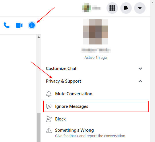 Facebook Messenger Web Ignore Messages Under Privacy and Support in Information Menu