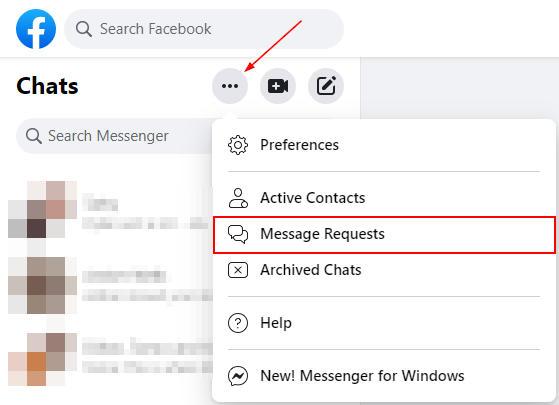Facebook Messenger Web Message Requests in Ellipsis Menu