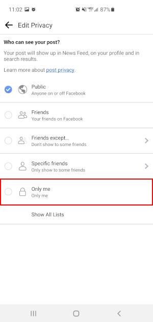 Facebook Mobile App Only Me Option in Photo Privacy Menu