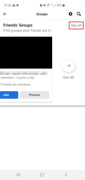 Facebook Mobile App See All in Friends Group Section on Groups Screen