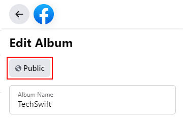 Facebook Web Audience Button in Edit Album Screen Left Panel