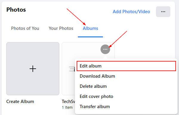 Facebook Web Edit Album in Album Ellipsis Menu