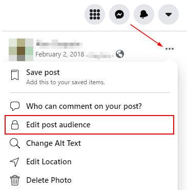 Facebook Web Edit Post Audience in Photo Ellipsis Menu