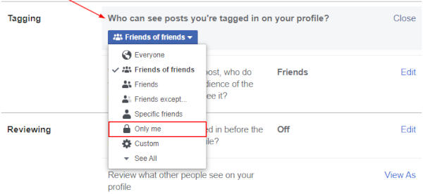 Facebook Web Only Me in Who can see Tagged Posts Privacy Settings
