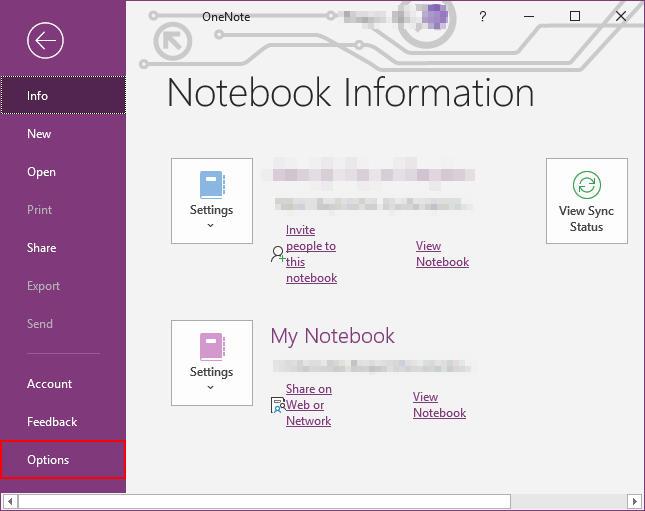 OneNote Options in File Menu
