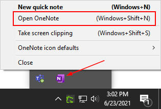 OneNote in System Tray with Open OneNote Option in Right Click Menu