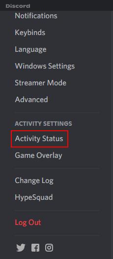Discord Activity Status in Settings Left Menu