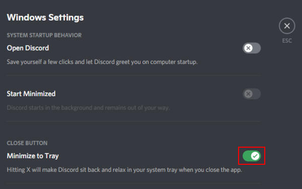 Discord Minimize to Tray Toggle Icon in Windows Settings