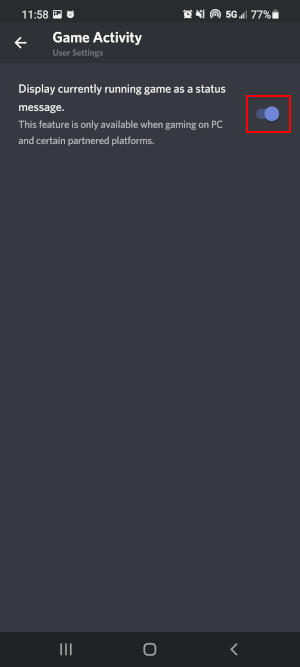 Discord Mobile App Display Current Game Toggle in Game Activity Settings