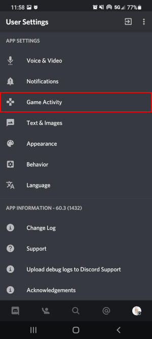 Discord Mobile App Game Activity in User Settings