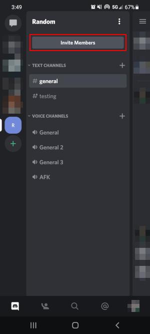 Discord Mobile App Invite Members Button