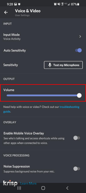 Discord Mobile App Output Volume Slider in Voice and Video Settings