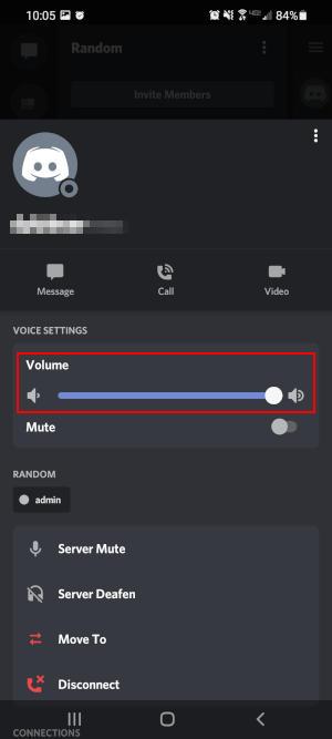 Discord Mobile App User Volume Slider in User Long Press Menu
