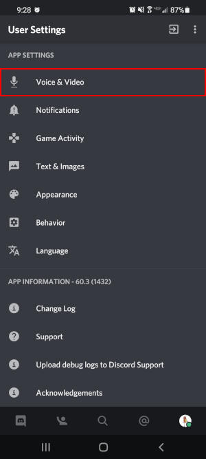 Discord Mobile App Voice and Video in User Settings