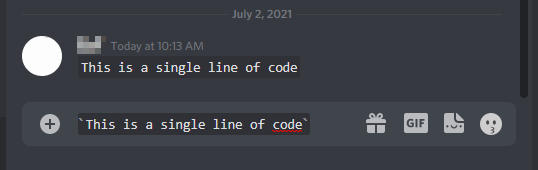 Discord Snippet of Single Line Code in Chatbox