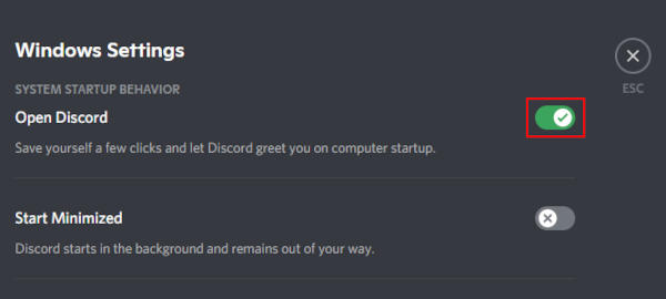 Discord Toggle Icon Next to Open Discord in Windows Settings