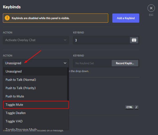 Discord Toggle Mute Action in Keybinds Settings
