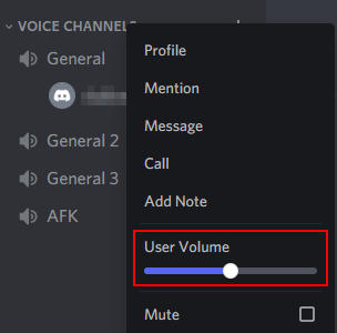 Discord User Volume Slider in User Right Click Menu