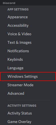Discord Windows Settings in User Settings