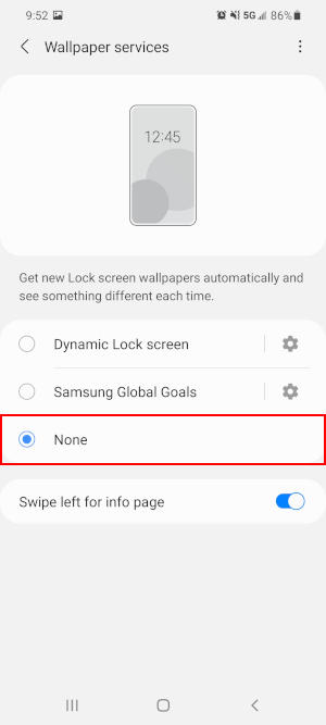 Samsung Galaxy S21 None Option in Dynamic Lock Screen Wallpaper Services