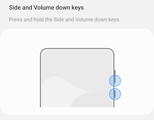Samsung Galaxy S21 Side and Volume Down Key Turn off Diagram