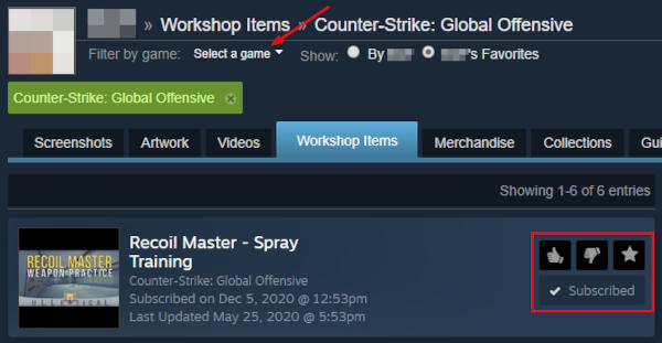 Steam Subscribed Item in Workshop with Manage Buttons Highlighted