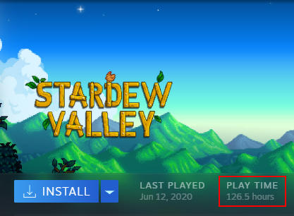 Steam Total Hours Played in Play Time Field