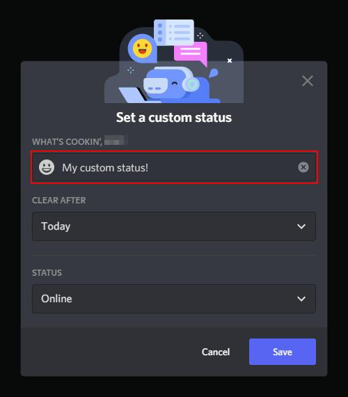 Discord Custom Status Field in Set a Custom Status Window