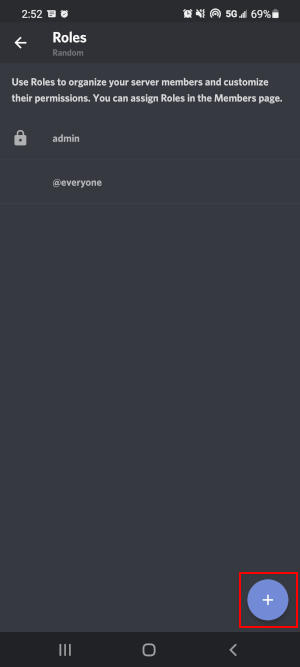 Discord Mobile App Add Role Button on Roles Screen