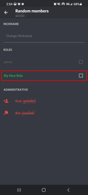 Discord Mobile App Assign Role on Member Management Screen